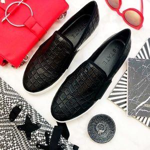 Black Leather Croc Embossed Slip On Sneakers